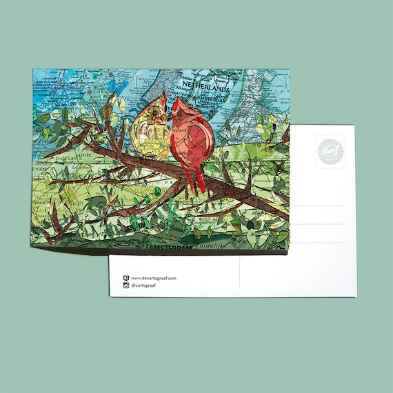 World map postcards - Animal series