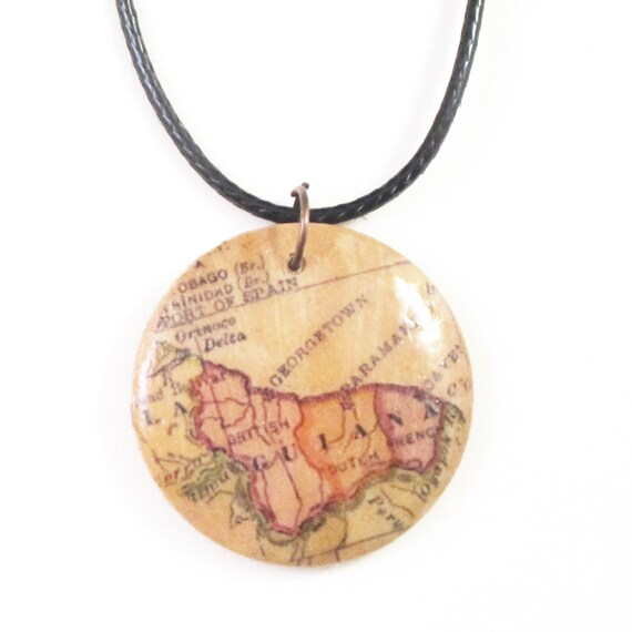 Personalized wooden necklace - south america