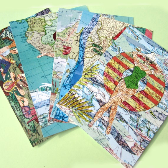 World map postcard - Summer set