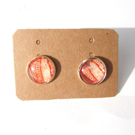 Personalized postage stamp ear studs