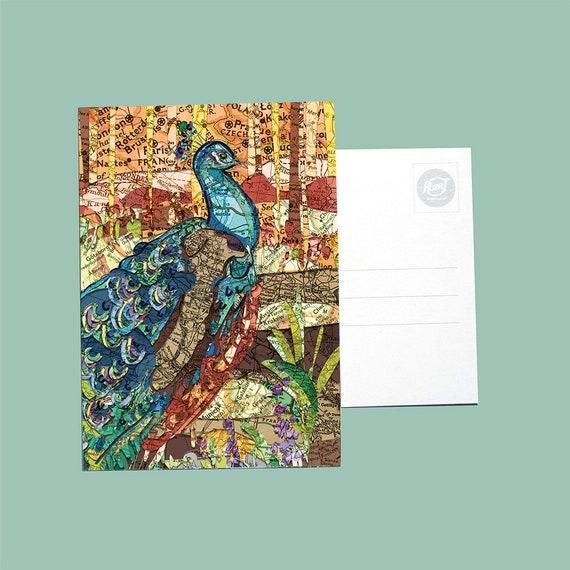 World map postcards - Bird series