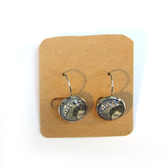 Postage stamp earrings - America