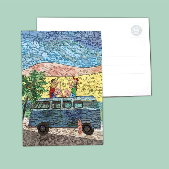 World map postcards - Transport and camping