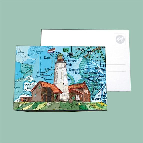 World map postcard - Flevoland and surroundings