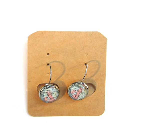 Personalized World map earrings - North europe variatons