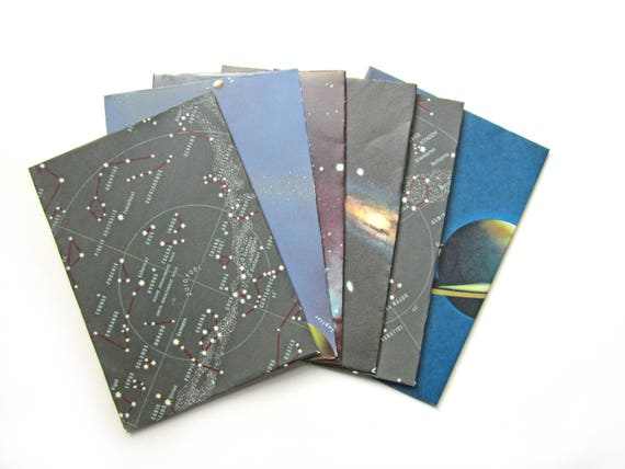 Set of 8 galaxy themed envelopes (Suitable for A6 cards)