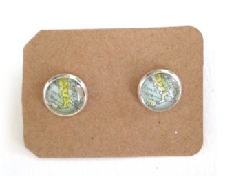 Map earrings - South Europe variations