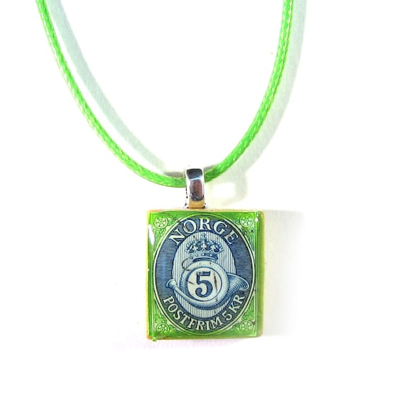 Scrabble tile postage stamp necklace - Europe variations