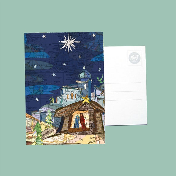 World map postcard - Christmas series
