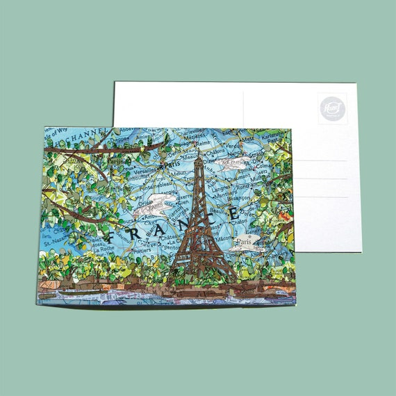 World map postcards - France series