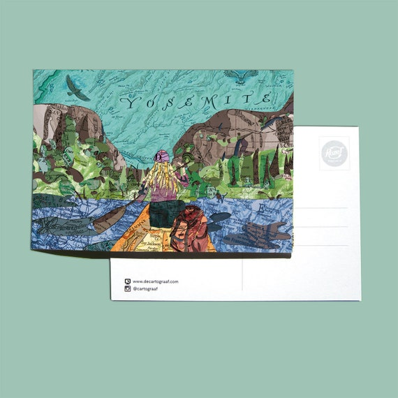 World map postcards - American Nature