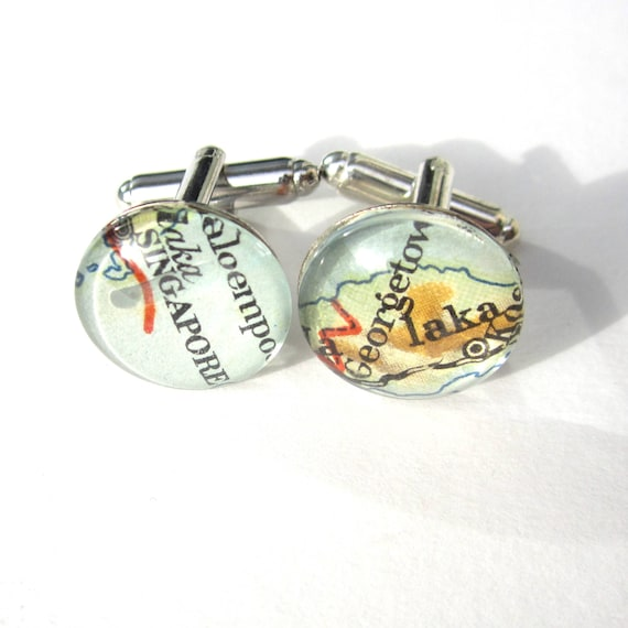 Personalized Map Cufflinks - various