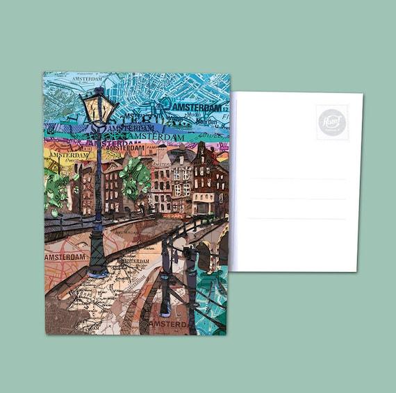 World map postcards - Amsterdam and Zaandam
