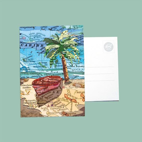 World map post card - Carribean series