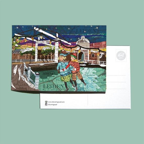 World map postcard - Winter series