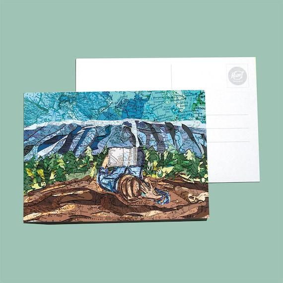 World map postcard - Wanderlust series