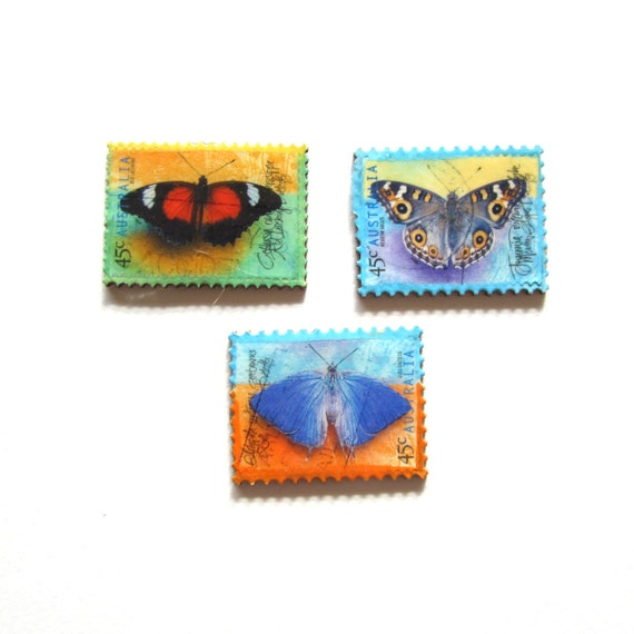 Postage stamp magnet set