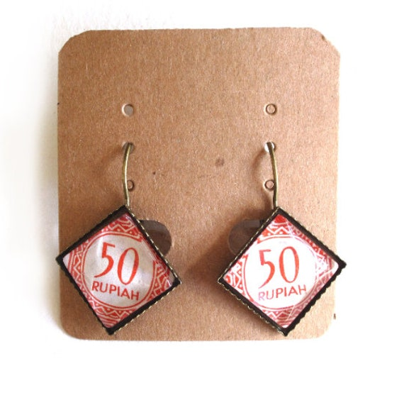 Postage stamp earrings - Asia, Africa, Indonesia