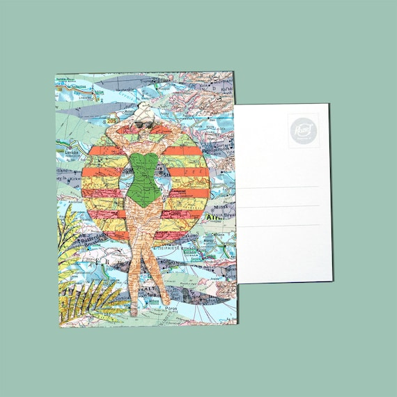 World map postcards - Summer set