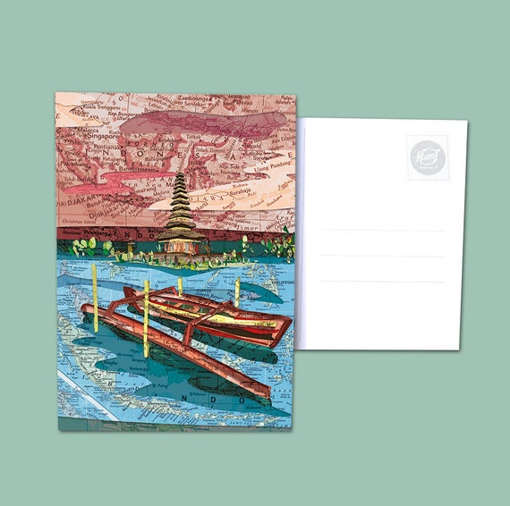 World map postcards - Indonesia / Philippines