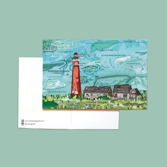 World map postcards - Wadden islands