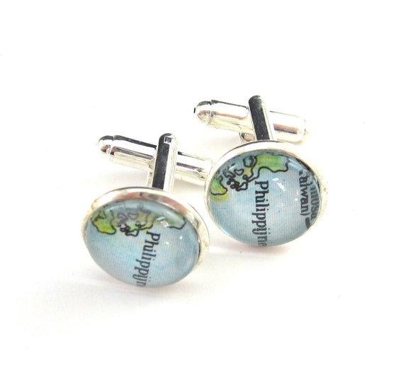 Personalized Map Cufflinks - Asia