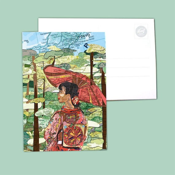 World map postcards - Japan series