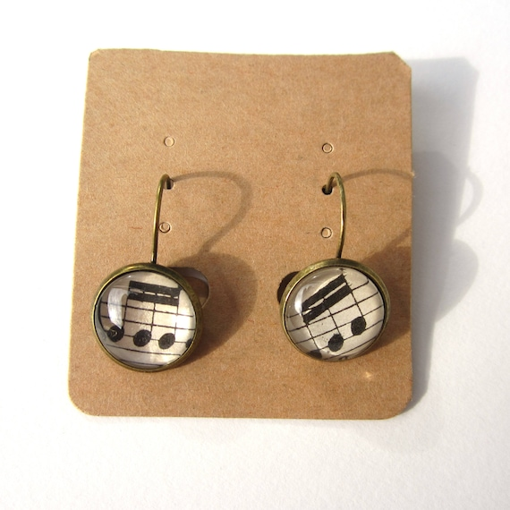 Personalized sheet Music clip on earring
