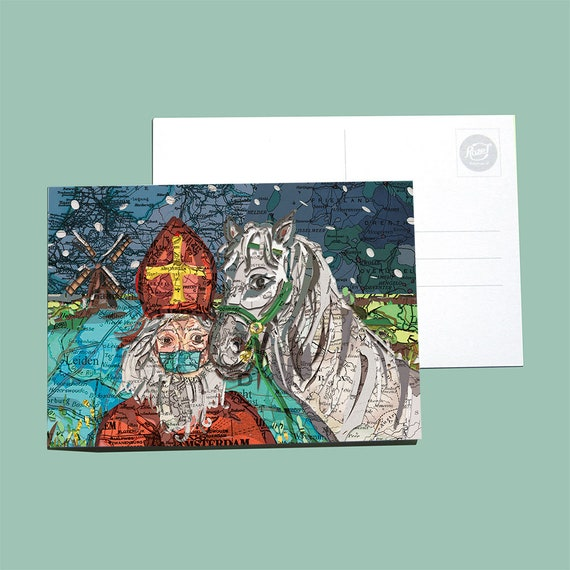 World map postcard - Sinterklaas series