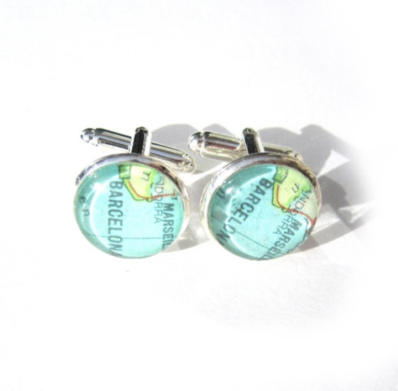 Personalized World map cufflinks - South Europe variations