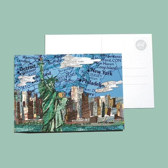World map postcards - American landmarks