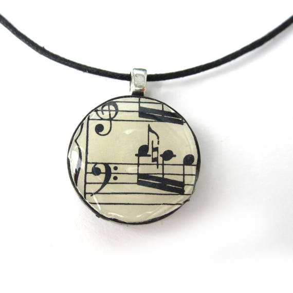 Personalized Music necklace, made of scrabble/checkers stone
