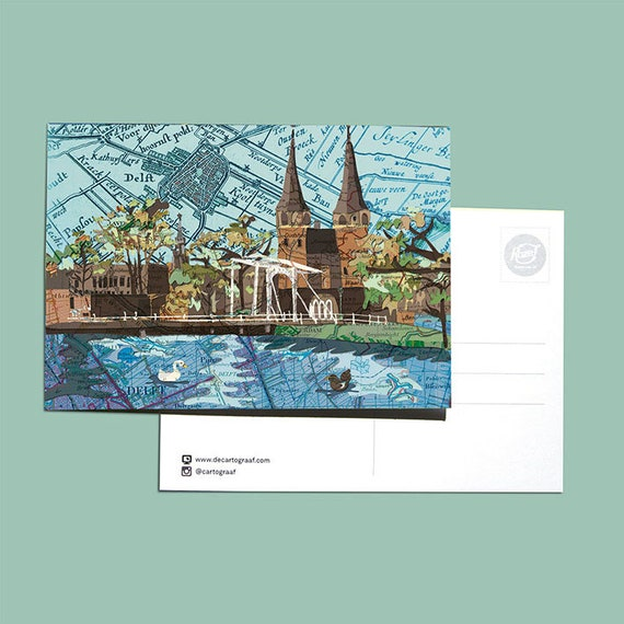 World map postcards - Delft series