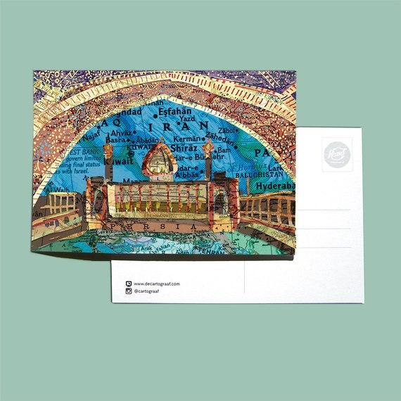 World map postcards - Arabia series