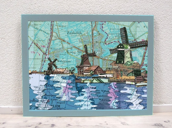 World map poster - Dutch mills