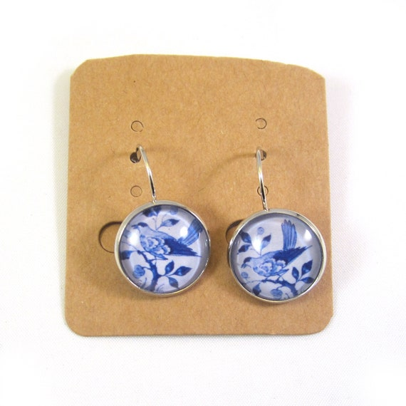 Delft blue clip on earring