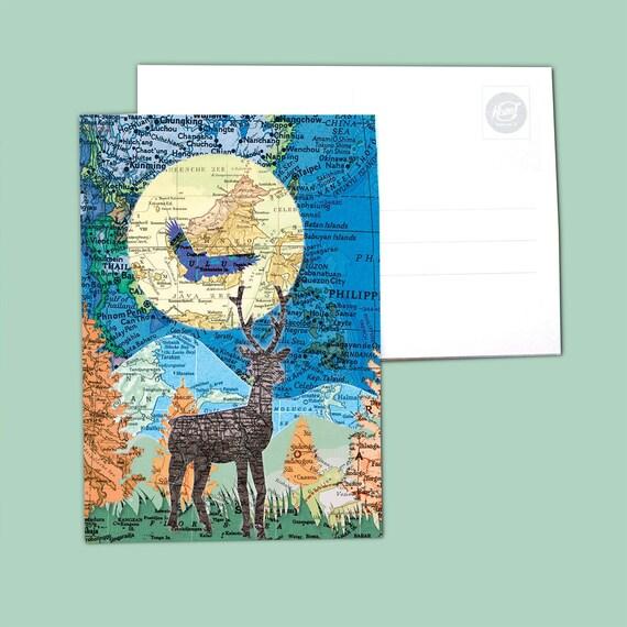World map postcards - Night series