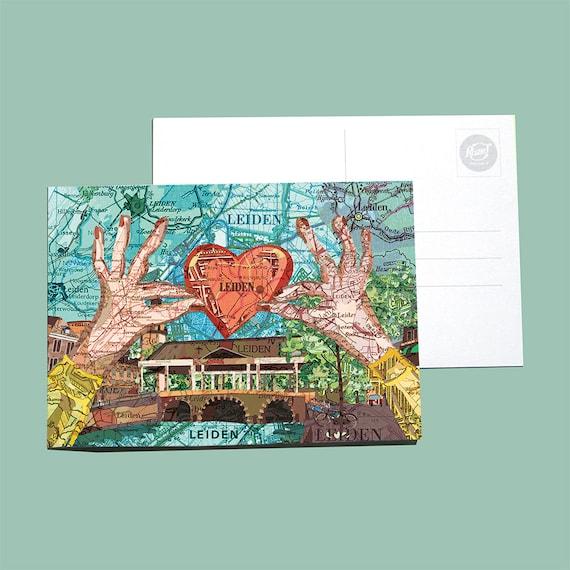 World map postcards - Leiden, Bollenstreek set