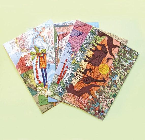World map postcard - Locations set