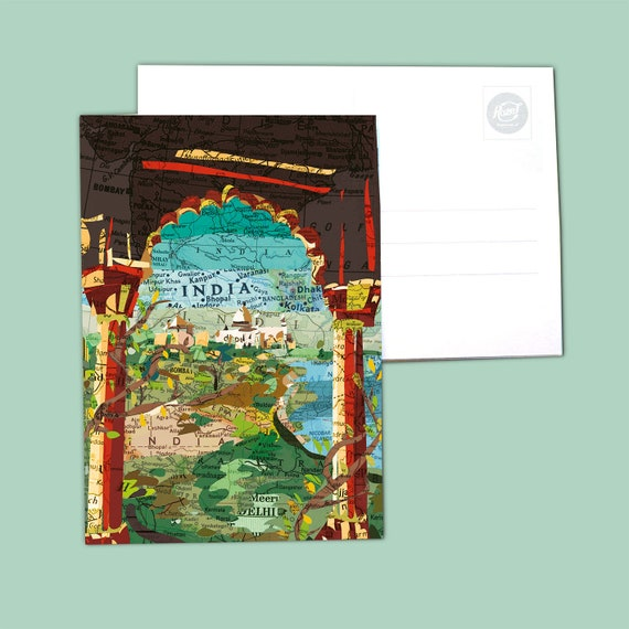 World map postcards Asia