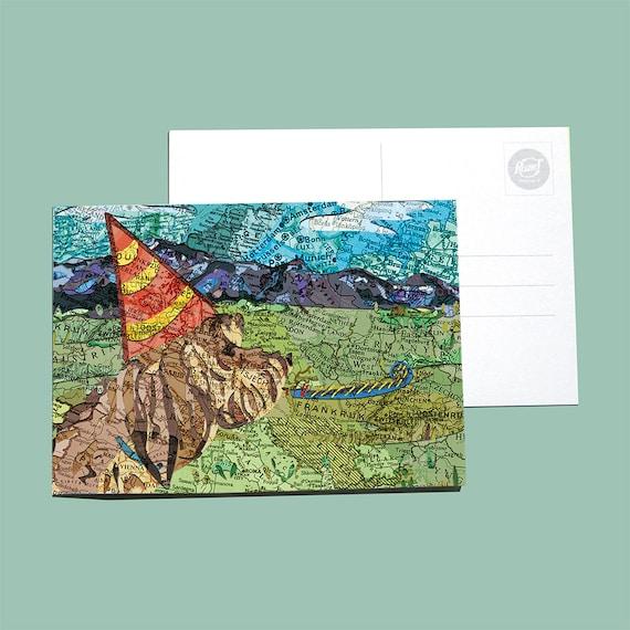 World map postcards - Birthday Animals