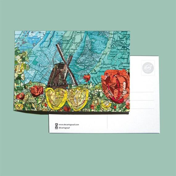 World map postcards - Bollenstreek