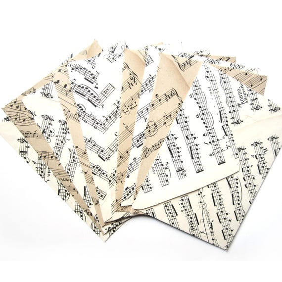 Set of 10 sheet music envelopes (Suitable for A6 cards)