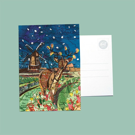 World map postcards - Christmas