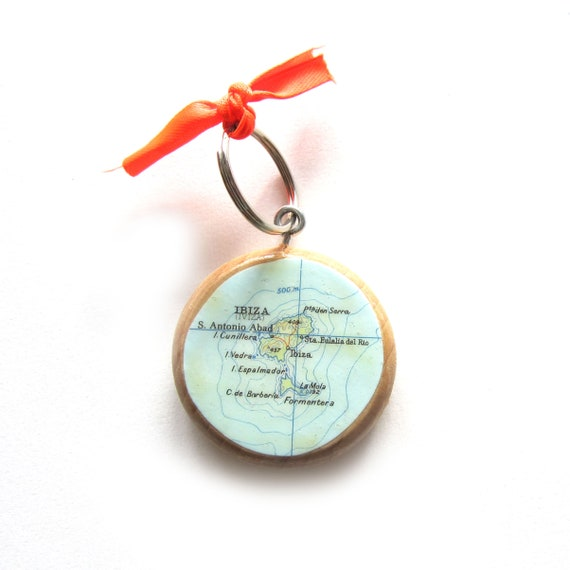 Personalized World map keychain south Europe variations