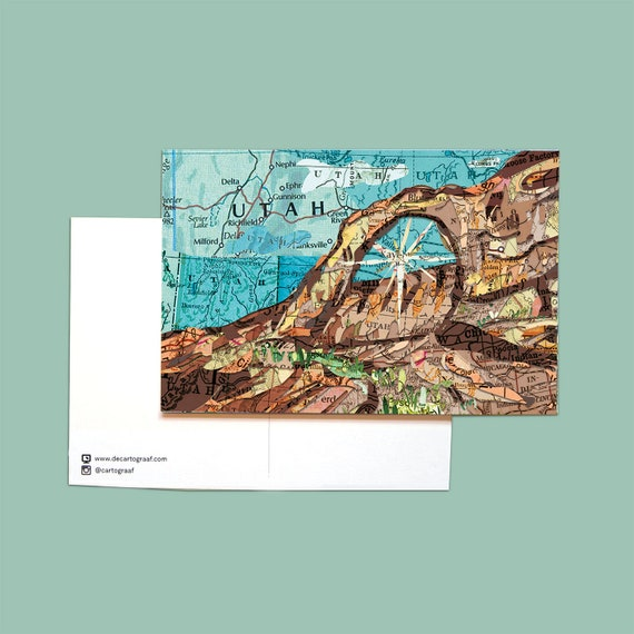 World map postcards - American Nature and Mayflower