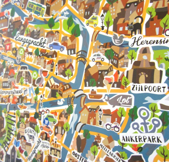 Leiden illustrated map poster