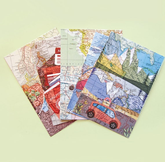 World map postcards - Holiday transport