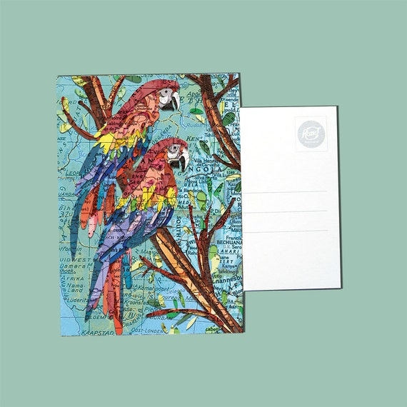 World map postcards - Bird and cat series