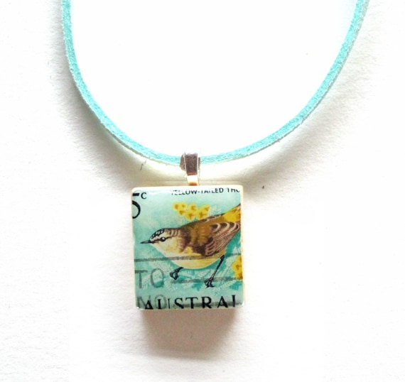 Personalized scrabble tile postage stamp necklace - Oceania